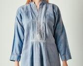 Antique Blue French Linen Dress