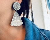 Vintage Large Etched Dangle Earrings