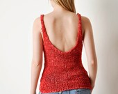 Vintage Red Crochet Leather Shirt