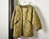 Vintage Green Quilted Liner Coat