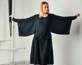 Vintage 20s Black Kimono Sleeve Dress