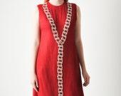Vintage Galanos Red Jeweled Dress
