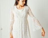Vintage White Mini Lace Dress