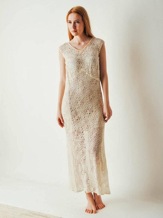30s Ivory Lace Dress - image 5