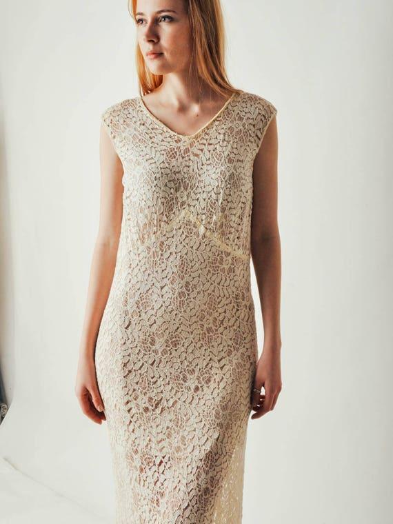 30s Ivory Lace Dress - image 2