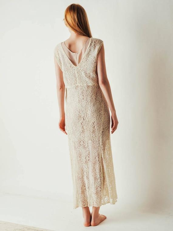 30s Ivory Lace Dress - image 7