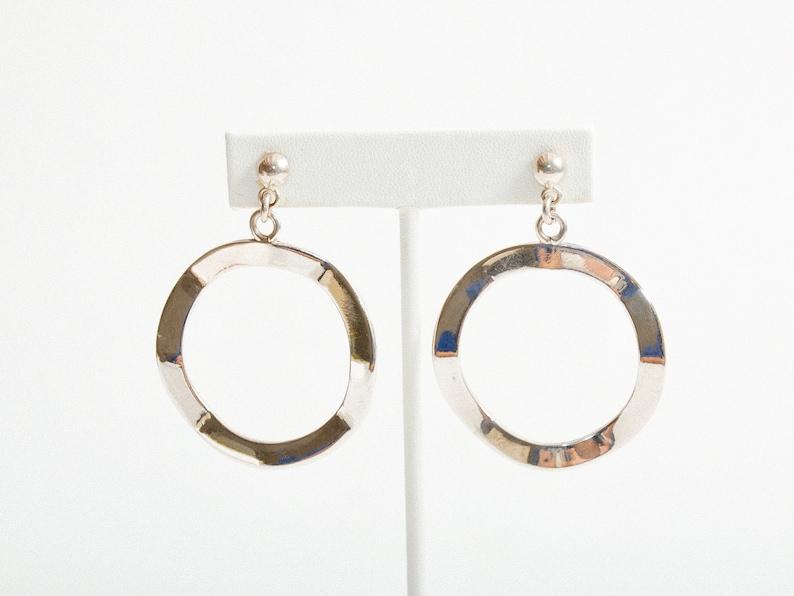 Vintage Wavy Sterling Silver Circle Hoop Earrings image 0