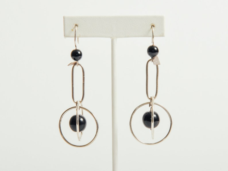 Vintage Taxco Silver & Onyx Mobile Earrings image 0