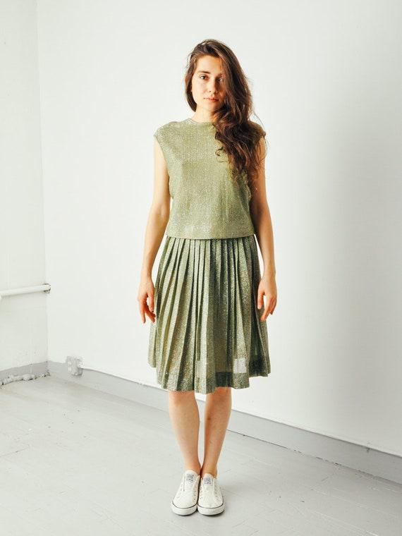 Vintage Green Metallic Pleated Skirt Set