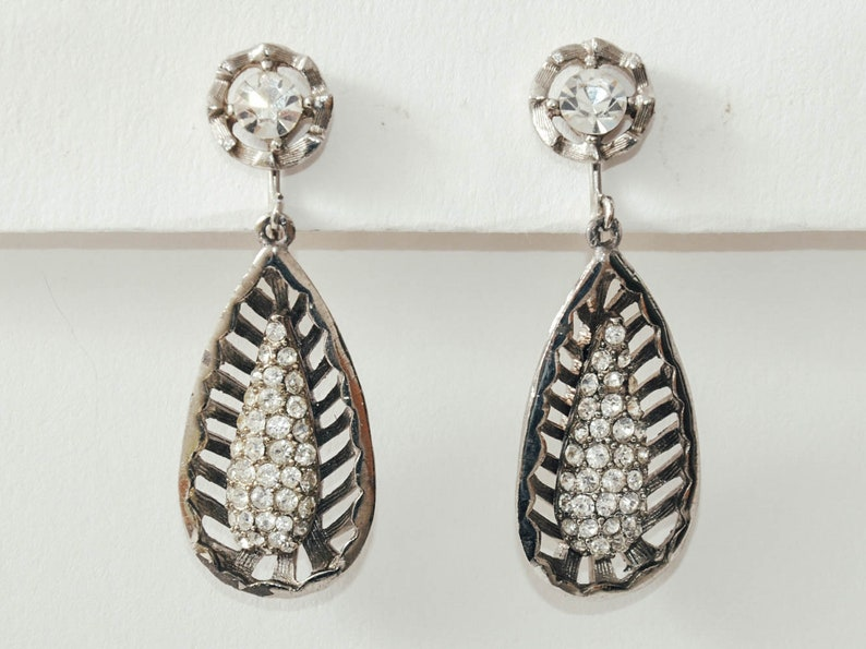 Vintage Teardrop Rhinestone Cage Earrings image 0