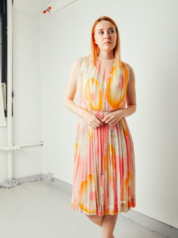 Vintage Silk Watercolor Dress