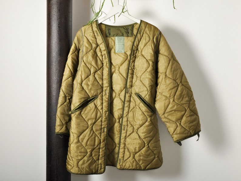 Vintage Green Quilted Liner Coat image 0