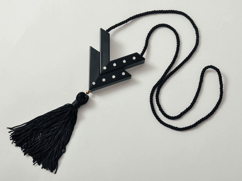 Vintage Valentino Black Tassel Necklace image 0