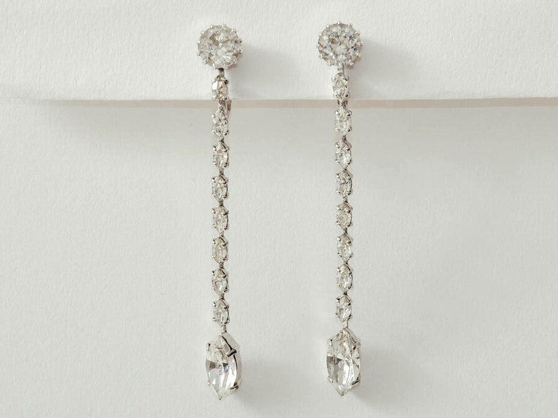 Vintage Trifari Dangling Crystal Earrings image 0