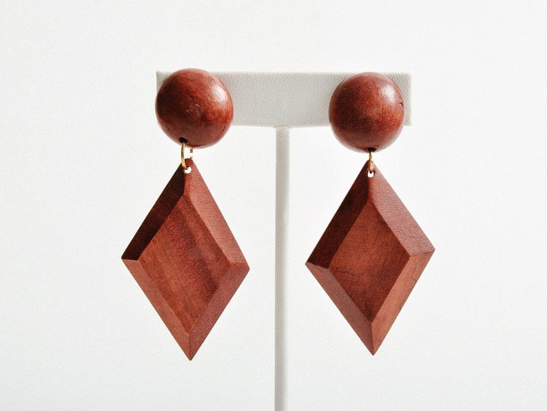 Vintage Wood Diamond Earrings image 0