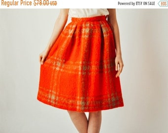 ON SALE - Vintage Red Plaid Mohair Skirt