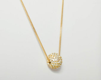 Vintage Rhinestone Ball Necklace