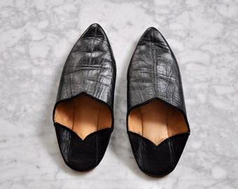 Black Leather Slides Slippers Size 6