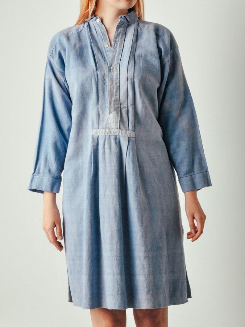 Antique Blue French Linen Dress image 0