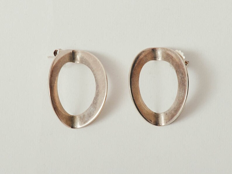 Vintage Betty Cooke Modernist Silver Earrings image 0