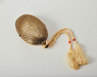 Vintage Brass Minaudière Purse w/ Tassel