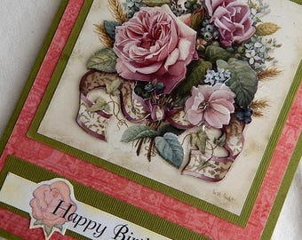 Handmade Birthday Card:rose, ribbons, layered, vintage, greeting card, card, birthday, complete card, handmade, ooak, balsampondsdesign