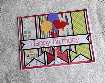 Handmade Birthday Card: greeting card, happy birthday, balloons, multi color, complete card, handmade, balsampondsdesign