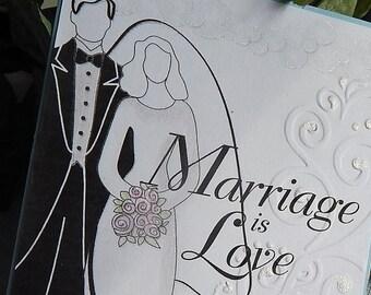 Handmade Wedding Card: complete card, handmade, balsampondsdesign, christian, gift card holder, greeting card, card, handmade, black, white
