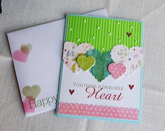Handmade Birthday Card: hearts, regular type, green, greeting card, birthday, complete card, handmade, balsampondsdesign