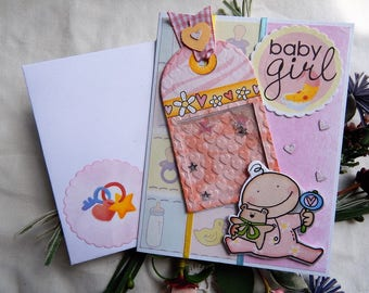Handmade Baby Girl Card: shaker card, new baby, girl, yellow, pink, complete card, handmade, balsampondsdesign, baby card, shower card
