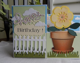 Handmade Birthday Card:  z box card, birthday, greeting card, flowers, fence, spring, summer, complete card, handmade, balsampondsdesign