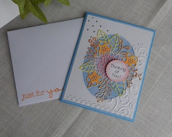 Handmade Thinking of You Card: flowers, friend, family, blue, greeting card, card, get well, complete card, handmade, balsampondsdesign
