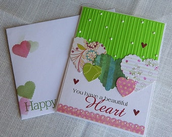Handmade Birthday Card: hearts, larger type, green, greeting card, birthday, complete card, handmade, balsampondsdesign