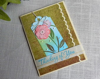 Handmade Birthday Card:flowers, green, tan, pink, blue, greeting card, complete inside, complete outside, handmade, balsampondsdesign