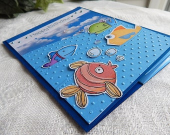 Handmade Birthday Card: fisherman, fishing, blue, ooak, friend, family, pop out, complete card, handmade, balsampondsdesign