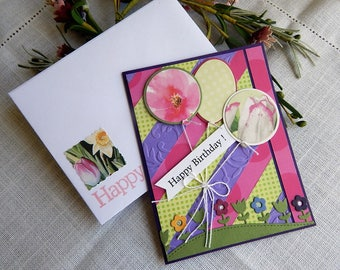 Handmade Birthday Card: ooak, balloons, purple, flowers, up cycle, pink, green, greeting cards, complete card, handmade, balsampondsdesign