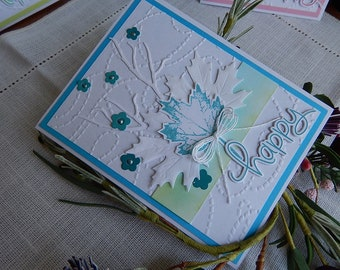 Handmade Birthday Card: birthday, greeting card, leaves, pink, blue, sage, green, complete card, handmade, balsampondsdesign