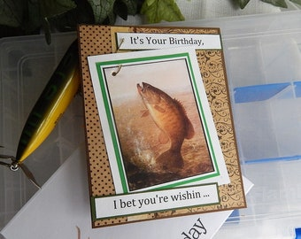 Handmade Birthday Card: fishing, male, real fishing hook, complete card, handmade, balsampondsdesign, birthday card, large type,
