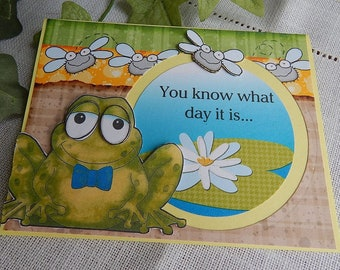 Handmade Birthday Card: frogs, humor, yellow, gold, greeting cards, birthday, card, complete card, handmade, balsampondsdesign