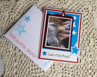 Handmade Military Card: thank you, heart, stars, complete card, handmade, balsampondsdesign, red, white, blue, patriotic, honor flight