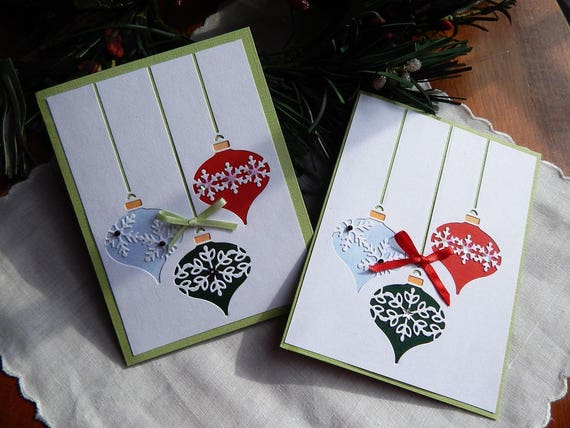 Handmade christmas card ornament greeting card green red etsy image 0 m4hsunfo