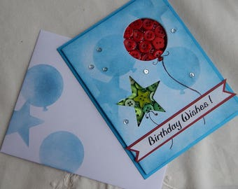 Handmade Birthday Card: greeting cards, cards, balloons, buttons, complete card, handmade, balsampondsdesign