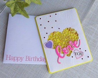 Handmade Birthday Card: daughter, we, heart, shaker,birthday card, greeting card, ooak, yellow,  complete card, handmade, balsampondsdesign