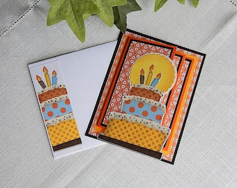 Handmade Birthday Card: greeting cards, card, birthday cake, complete inside, complete outside, ooak, balsampondsdesign, orange, four fold