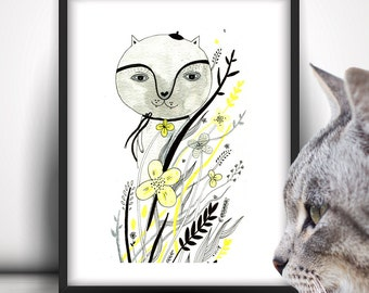 Original Cat Illustration, Cat Lover, Whimsical Art, Cat Painting, Cat Art, Original Art, Nursery Decor