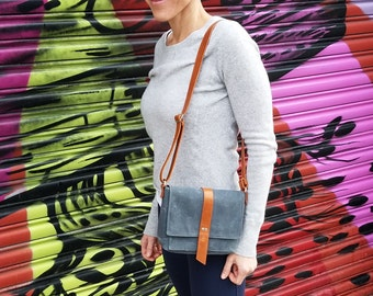 Waxed Canvas Woman Bag, Mini Messenger Saddlebag, Crossbody Pocketbook Purse with Adjustable Shoulder Strap - The Davy in Stone