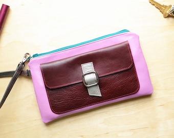 Leather Clutch Wristlet with Hand Strap, Small Zipper Handbag, Elegant Wallet Purse, Best Friend Gift Idea - The Lulu Wristlet in Periwinkle