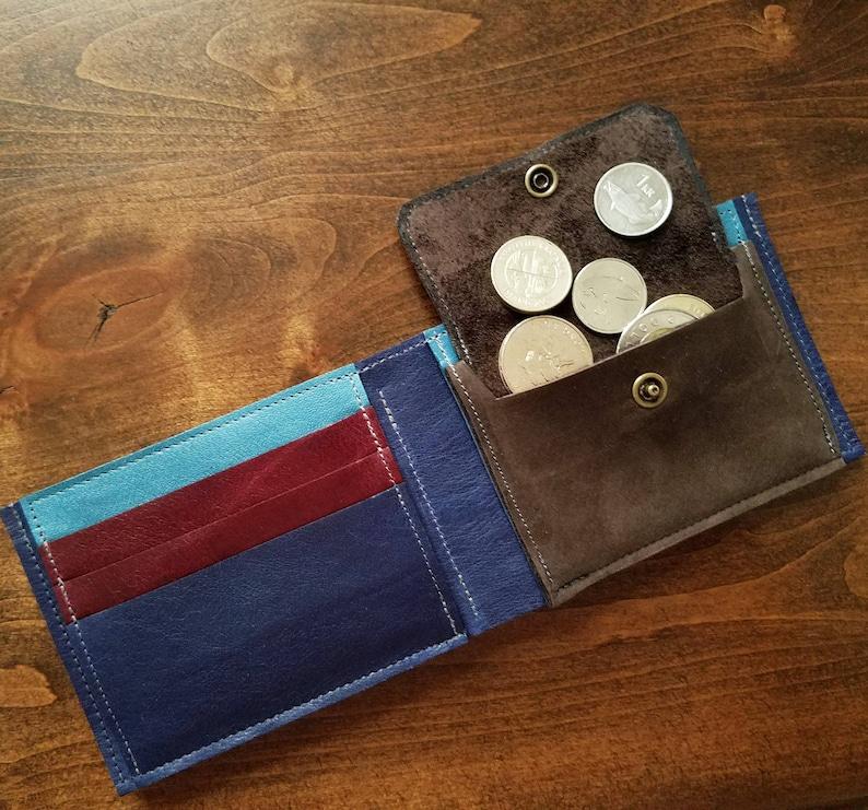 Coin Pocket Leather Wallet For Men Gents Credit Card Cash