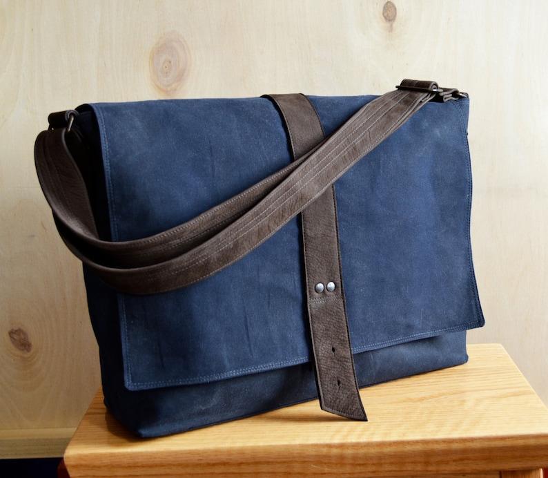 434c49089187 Messenger Bag mannen met Waxed Canvas tas veld tas Laptop