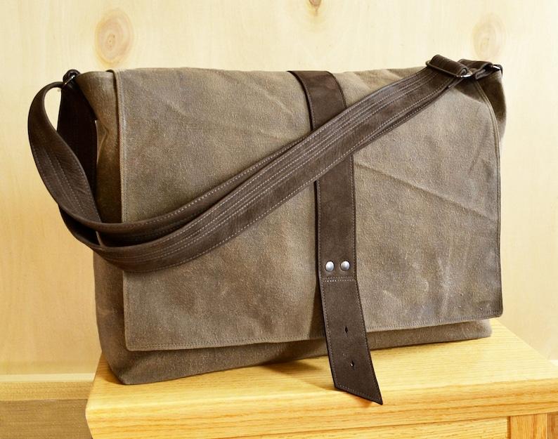 Messenger Bag Men Waxed Canvas Laptop Bag Man Crossbody Work  9e422f3131bb5